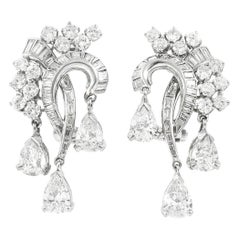 Platinum with Three Drop Pear Shape and Diamonds Earrings