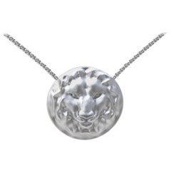 Platinum Womens Chain Leo Lion Pendant Necklace