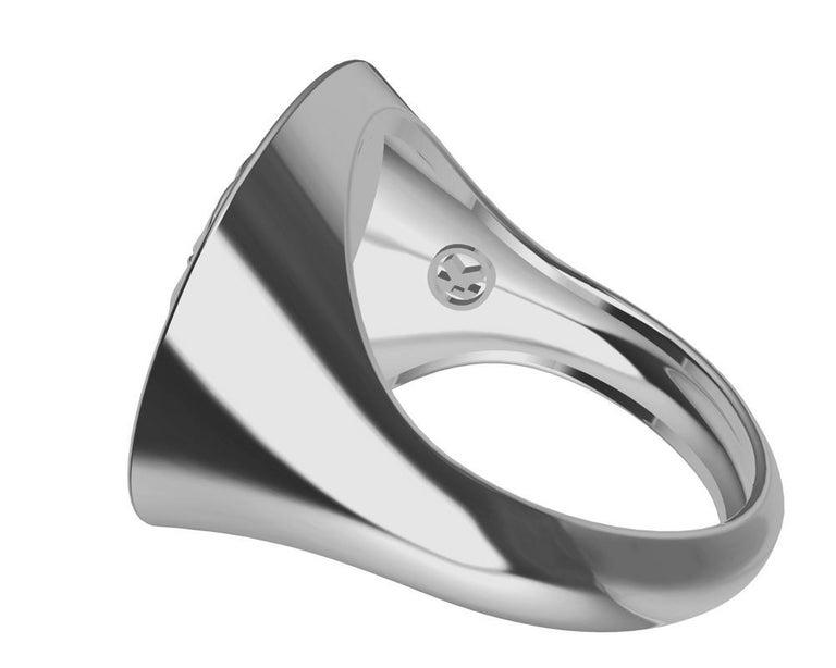 Platinum Women's Elephant 2 Tusks Signet Ring For Sale 2