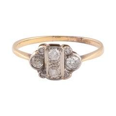 Platinum Yellow Gold and Diamond Engagement Ring, circa 1910