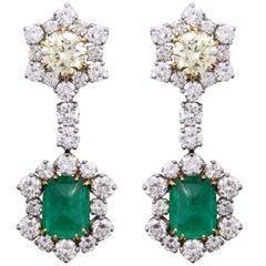 Platinum, Yellow Gold, Diamond and Cabochon Emerald Ear Pendant Earrings