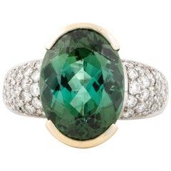 Platinum/Yellow Gold Green Tourmaline Diamond Ring