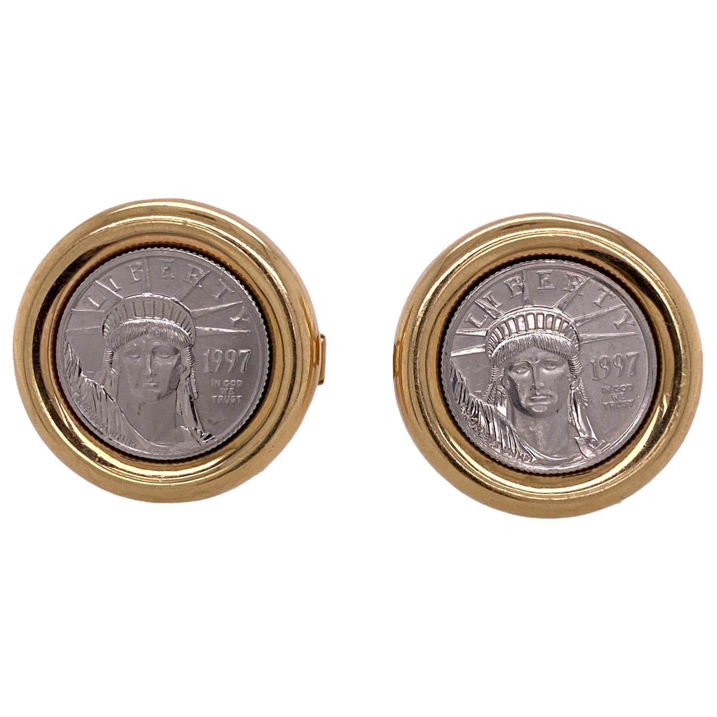 Platinum Yellow Gold Liberty Coin Vintage Two-Tone Cufflinks