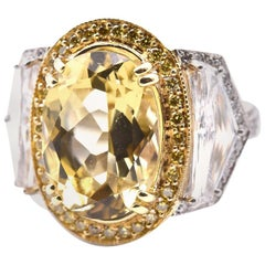 Platinum Yellow Quartz and Diamond Ring