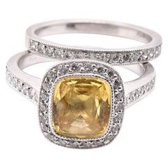 Platinum Yellow Sapphire and Diamond Ring Set