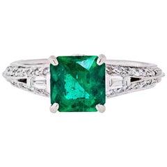 Platinum Zambian Green Emerald and Diamond Ring