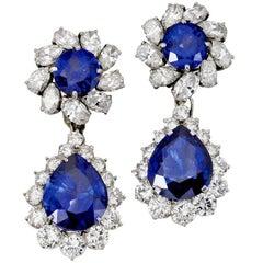 Platinum, Ceylon Sapphire, Diamond Pendant, Ear Clips