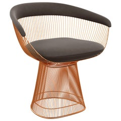 Platner Arm Chair in Ultrasuede/Chinchilla Upholstery & Rose Gold Base