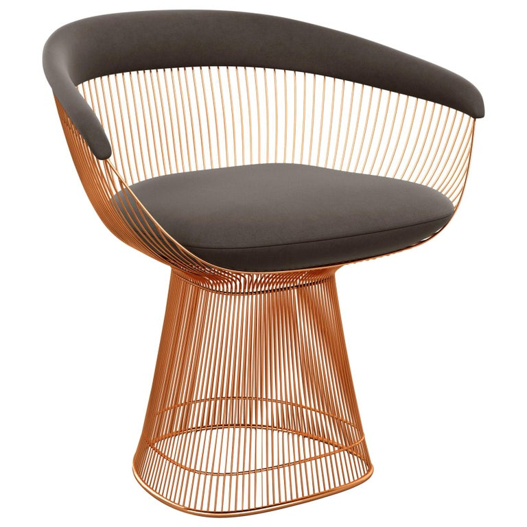 Platner Arm Chair in Ultrasuede/Chinchilla Upholstery & Rose Gold Base For Sale
