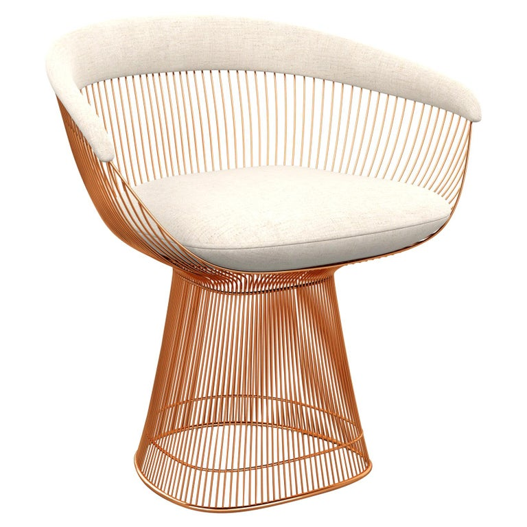 Platner Arm Chair in Diva/Moon Upholstery & Rose Gold Base For Sale