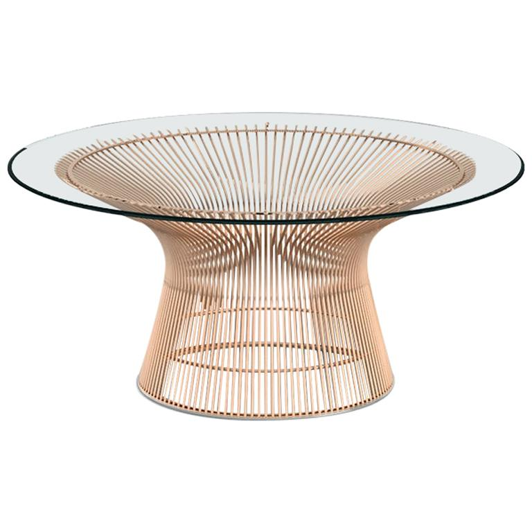 Platner Coffee Table, Glass Top & Rose Gold Base  For Sale