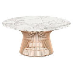 Platner Coffee Table, Satin Calacatta Top & Rose Gold Base
