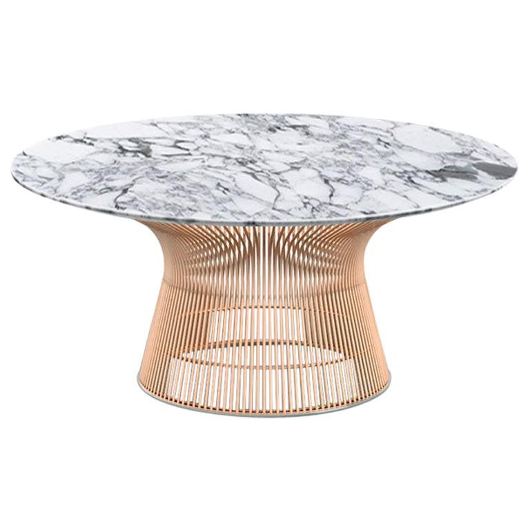 Platner Coffee Table, Polished Arabescato Top & Rose Gold Base  For Sale
