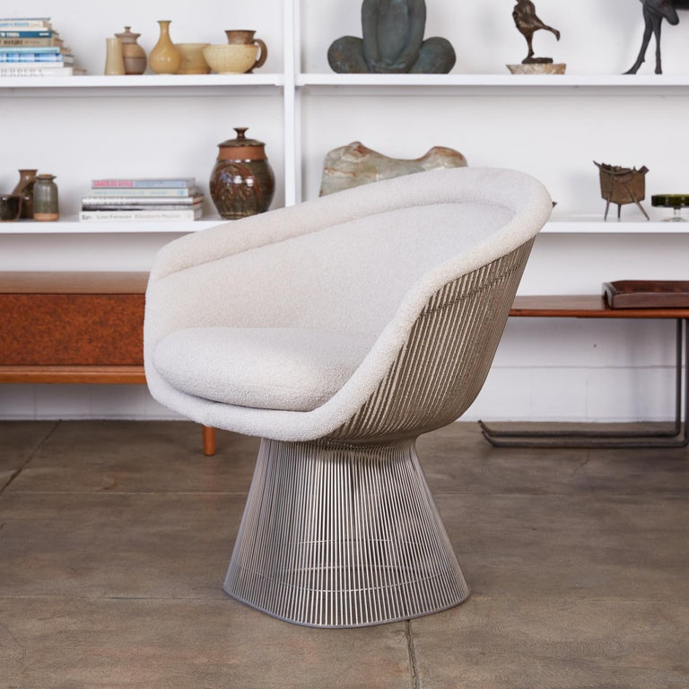 American Platner Collection for Knoll Lounge Chair in White Bouclé