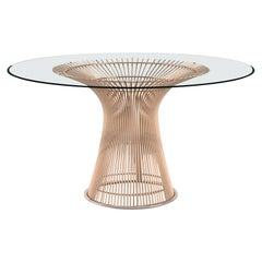 Platner Dining Table, Glass Top & Rose Gold Base
