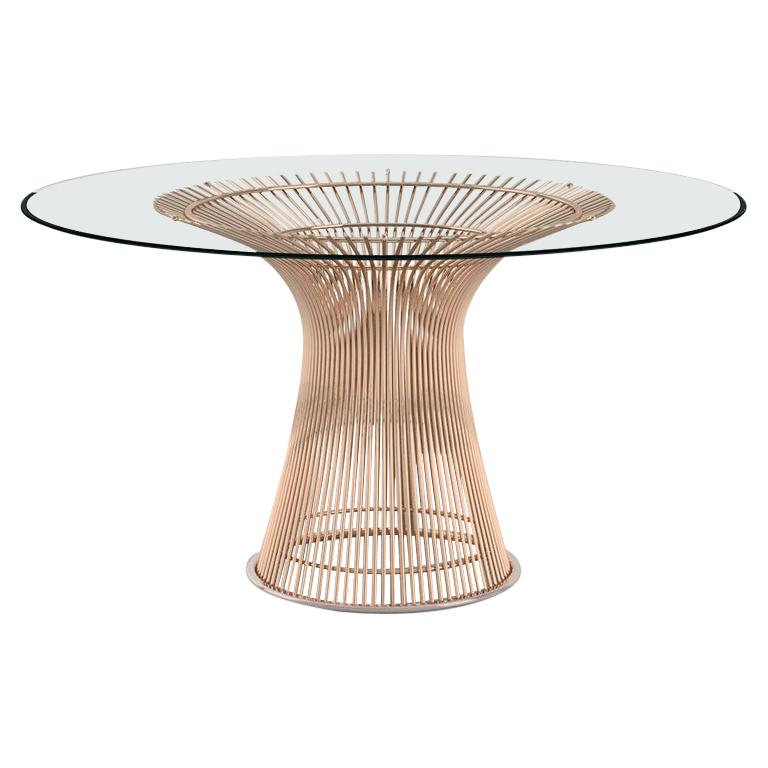 Platner Dining Table, Glass Top & Rose Gold Base For Sale