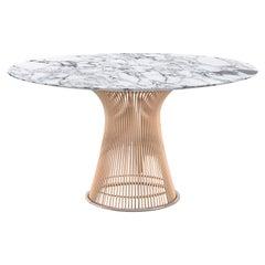 Platner Dining Table, Polished Arabescato Top & Rose Gold Base