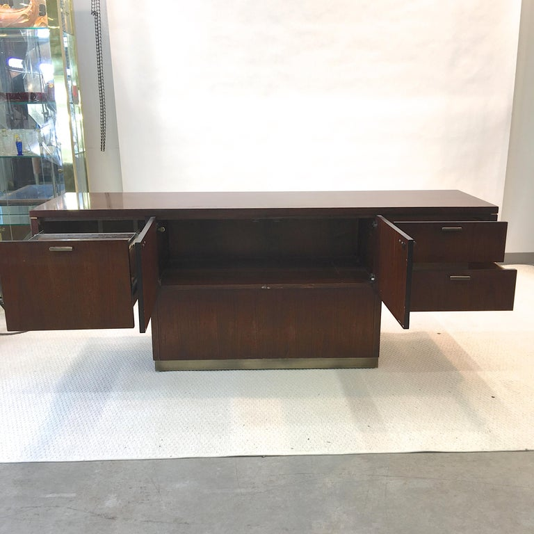 Platner Inspired Walnut and Bronze Floating Credenza For Sale 7
