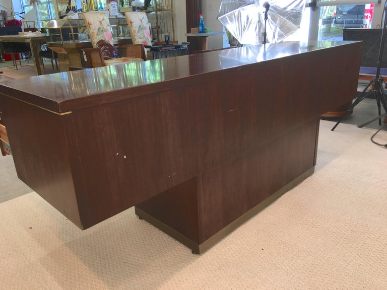 Platner Inspired Walnut and Bronze Floating Credenza For Sale 10