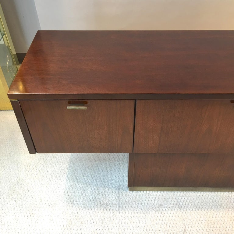 Platner Inspired Walnut and Bronze Floating Credenza For Sale 11