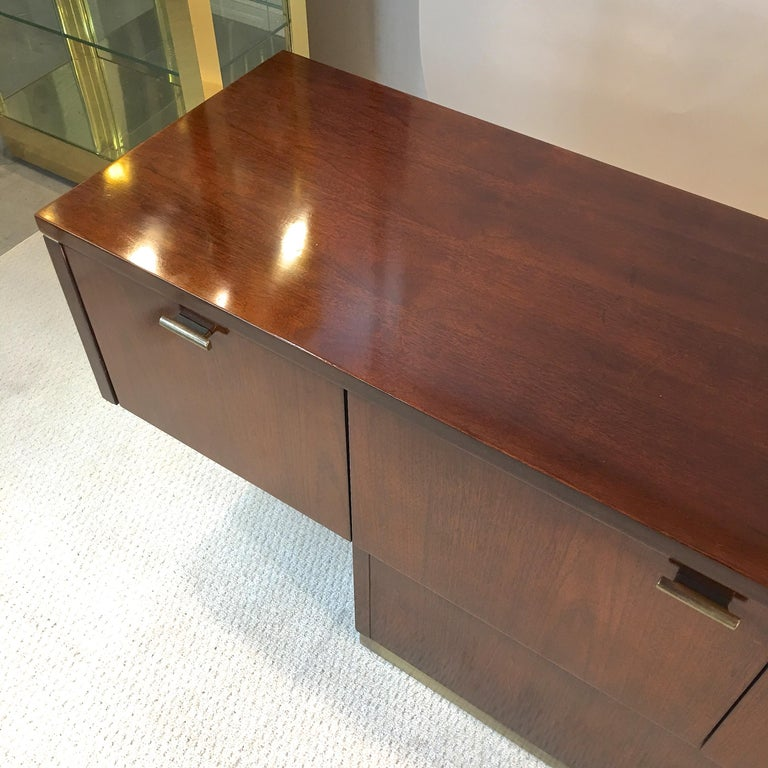 Platner Inspired Walnut and Bronze Floating Credenza For Sale 12