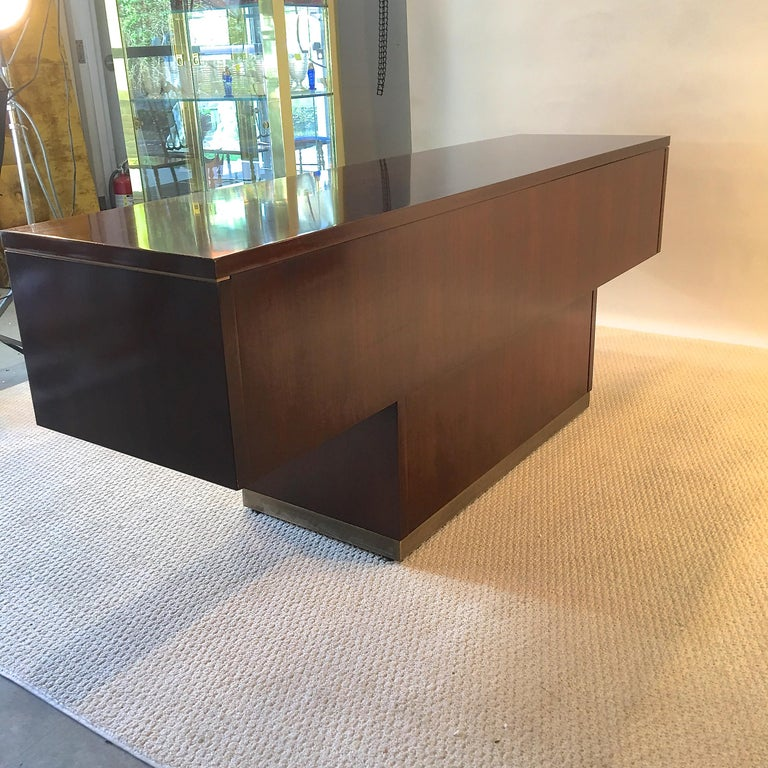 Platner Inspired Walnut and Bronze Floating Credenza For Sale 13