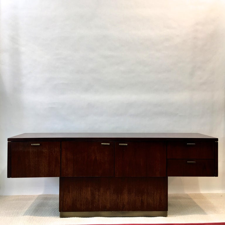 Platner Inspired Walnut and Bronze Floating Credenza For Sale 1