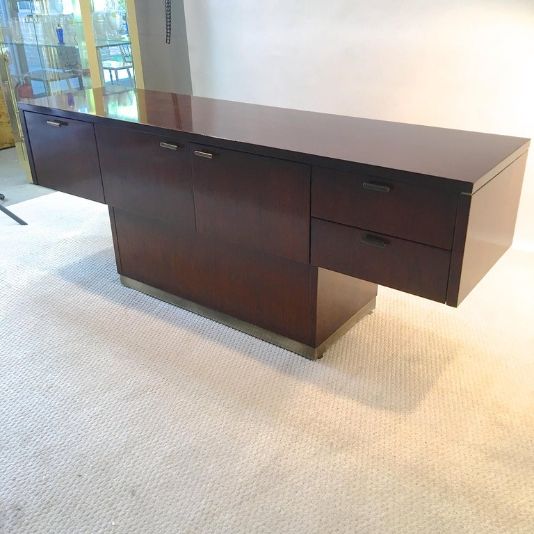 Platner Inspired Walnut and Bronze Floating Credenza For Sale 2