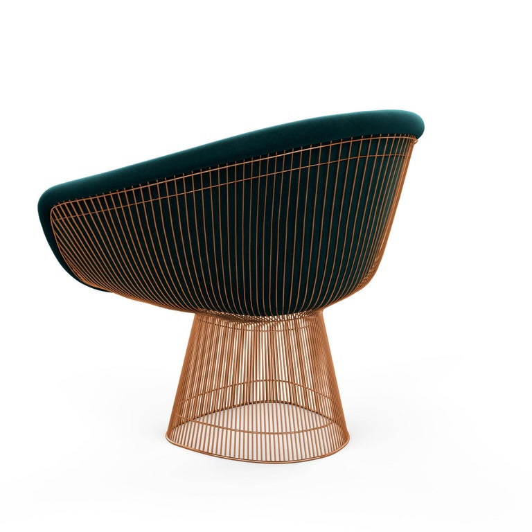 """In 1966, the Platner Collection captured the """"decorative, gentle, graceful"""" shapes that were beginning to infiltrate the modern vocabulary. The iconic lounge chair is created by welding curved steel rods to circular and semi-circular frames,"""