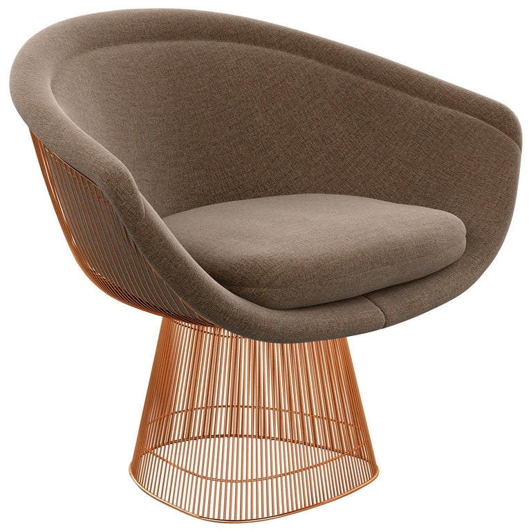 Platner Lounge Chair in Summit/Ridge Upholstery & Rose Gold Base  For Sale