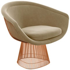 Platner Lounge Chair in Knoll Velvet/Sandstone Upholstery & Rose Gold Base
