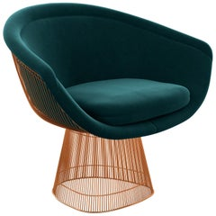 Platner Lounge Chair in Knoll Velvet/Teal Upholstery & Rose Gold Base