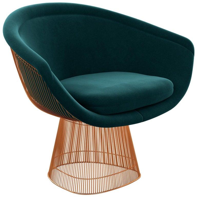 Platner Lounge Chair in Knoll Velvet/Teal Upholstery & Rose Gold Base  For Sale