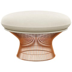 Platner Ottoman in Ultrasuede/Pebble Upholstery & Rose Gold Base
