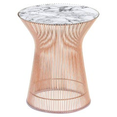 Platner Side Table, Polished Arabescato Top & Rose Gold Base