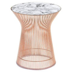 Platner Side Table, Satin Arabescato Top & Rose Gold Base