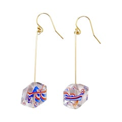 Platonic Rare French Antique Crystal Glass Earrings