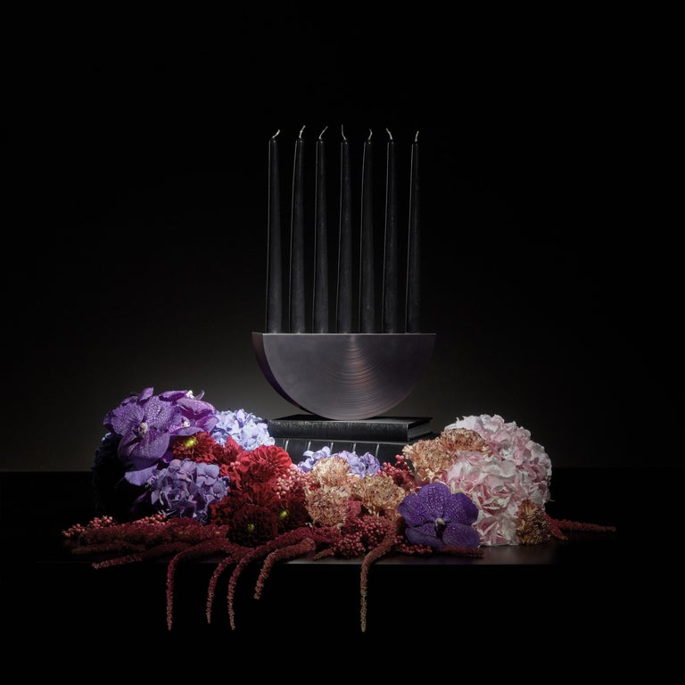 French Play with Fire Limited Edition Candelabrum in Nickel Smoked Copper Aluminium For Sale