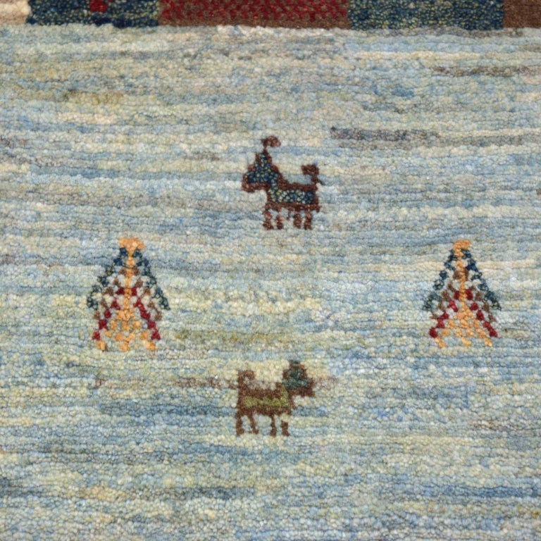 Playful Blue, Cream, and Red Wool Kashkouli Tribal Persian Carpet In New Condition For Sale In New York, NY