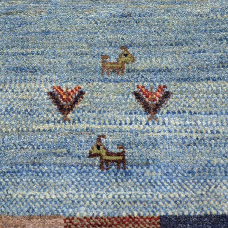 Contemporary Playful Blue, Cream, and Red Wool Kashkouli Tribal Persian Carpet For Sale