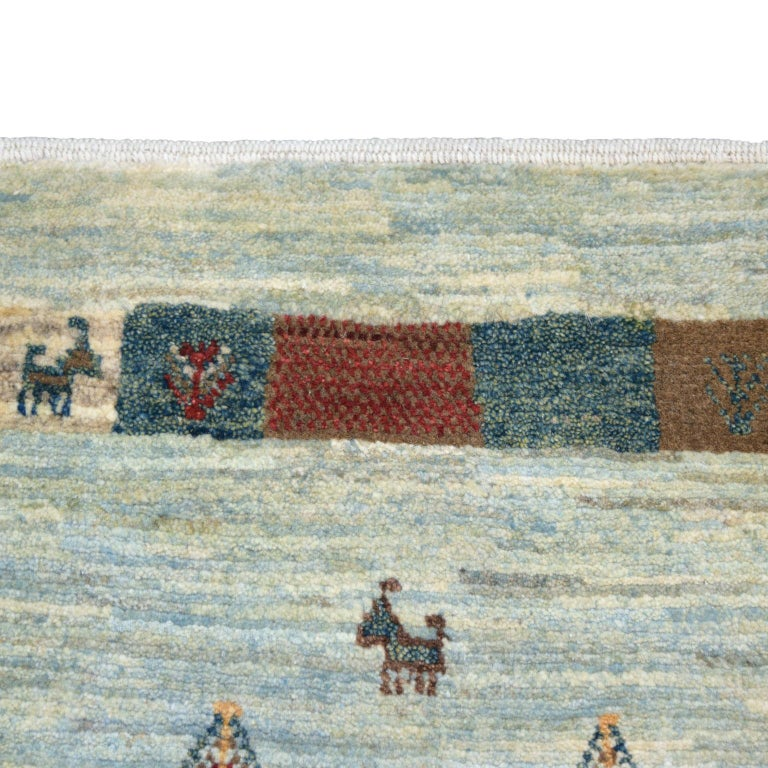 Playful Blue, Cream, and Red Wool Kashkouli Tribal Persian Carpet For Sale 3