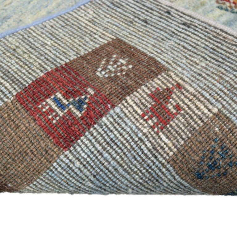 Playful Blue, Cream, and Red Wool Kashkouli Tribal Persian Carpet For Sale 4