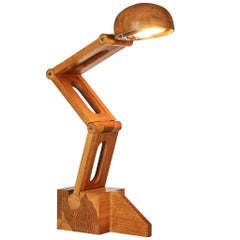 Playful Desk Lamp by Paolo Pallucco in Solid Oak