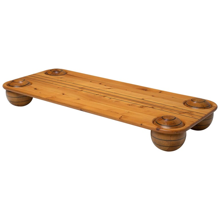 Playful Italian Coffee Table in Pine For Sale