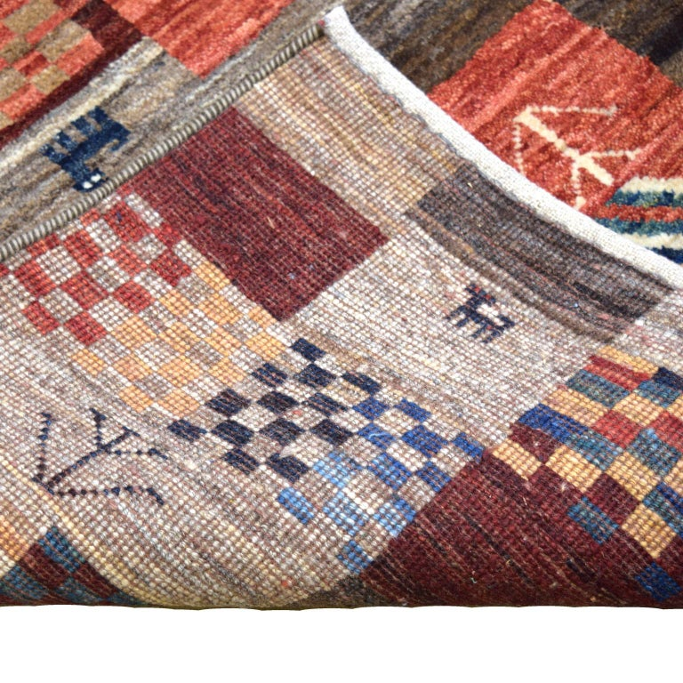 Contemporary Playful Red, Blue, Cream, and Gold Wool Persian Kashkouli Carpet For Sale