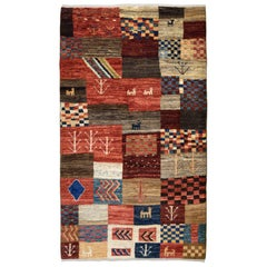 Playful Red, Blue, Cream, and Gold Wool Persian Kashkouli Carpet