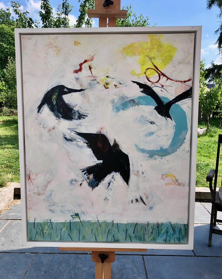 One of a number of paintings the artist has produced featuring rooks oil on canvas. Excellent condition. Framed
