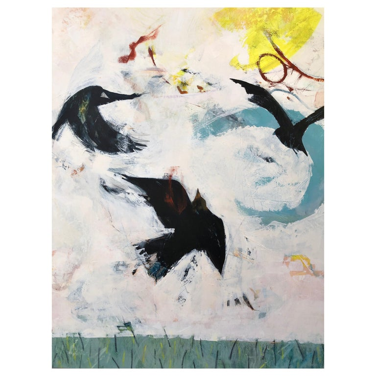 Playful Rooks, Contemporary Oil Painting For Sale