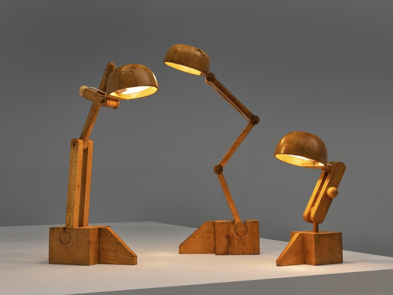 Playful Table Lamp by Paolo Pallucco in Solid Oak For Sale 5