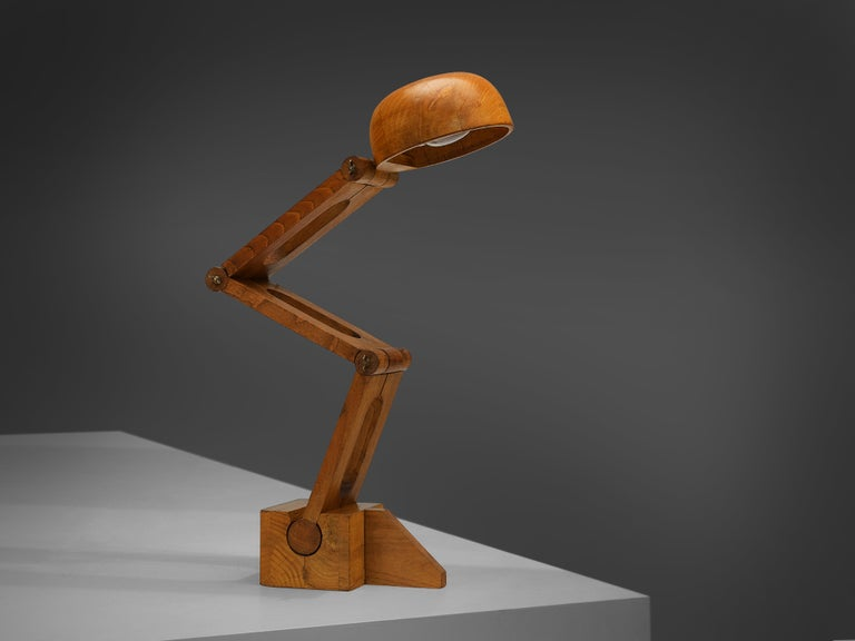 Italian Playful Table Lamp by Paolo Pallucco in Solid Oak For Sale